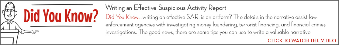 EPCOR Did You Know video series, Writing an Effective Suspicious Activity Report