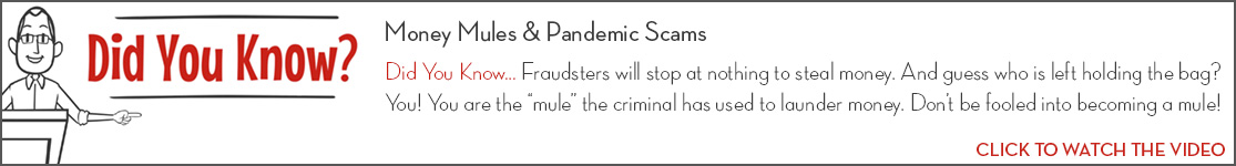 EPCOR Did You Know video series, Money Mules & Pandemic Scams