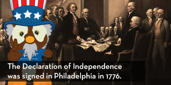 Declaration of Independence signed in 1776